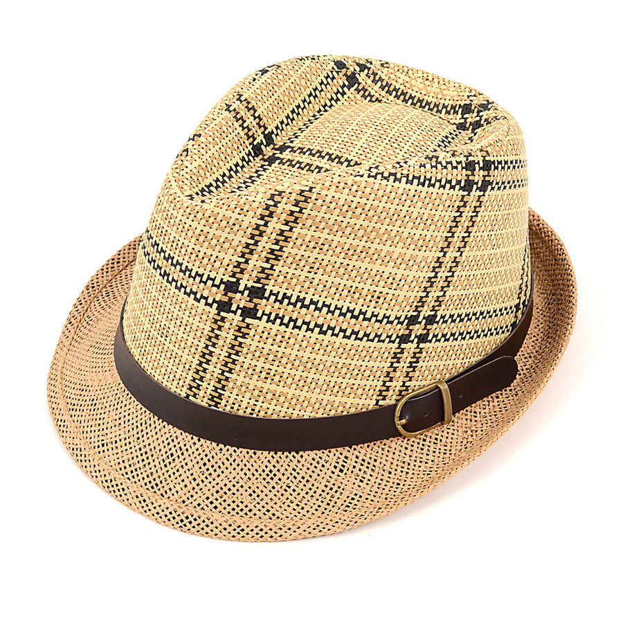 Spring/Summer Woven Striped Fedora Hat with Leather Trim H8793