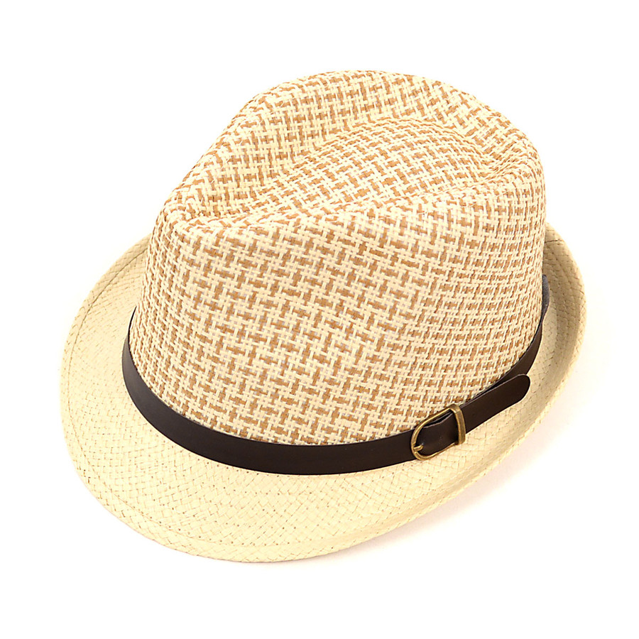 6pcs Two Sizes Spring/Summer Woven Fedora Hat with Leather Trim H8789