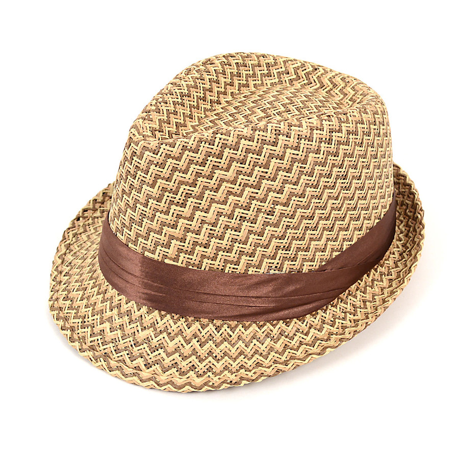 Spring/Summer Woven Pattern Fedora Hat with Ribbon Trim H1024-6563