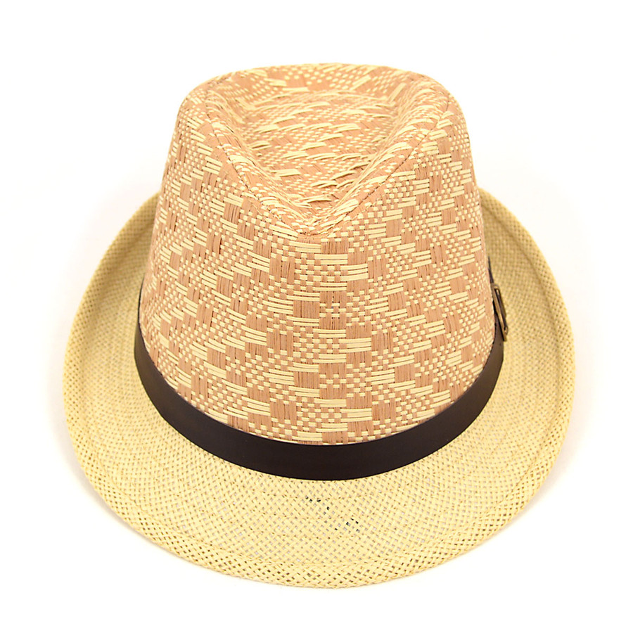Spring/Summer Woven Pattern Fedora Hat with Leather Trim H9224