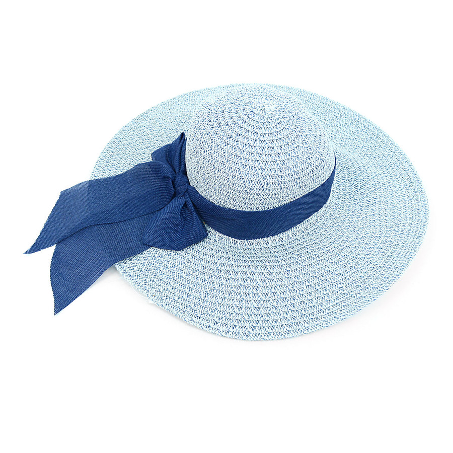 "Women's 5"" Brim White and Blue Bow Floppy Hat H10320"