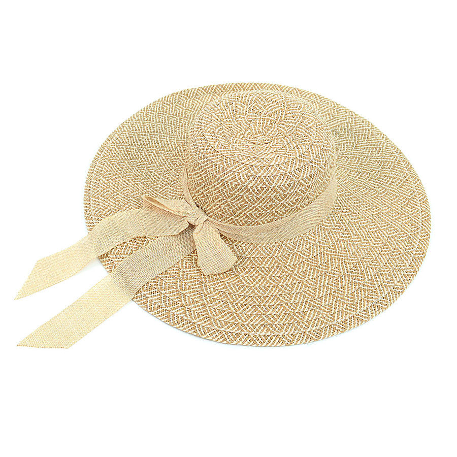 "Women's 4.5"" Brim Tan Bow Floppy Hat H10321"