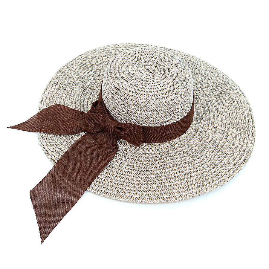 "Women's 4.5"" Brim Tan and White Bow Floppy Hat H10319"