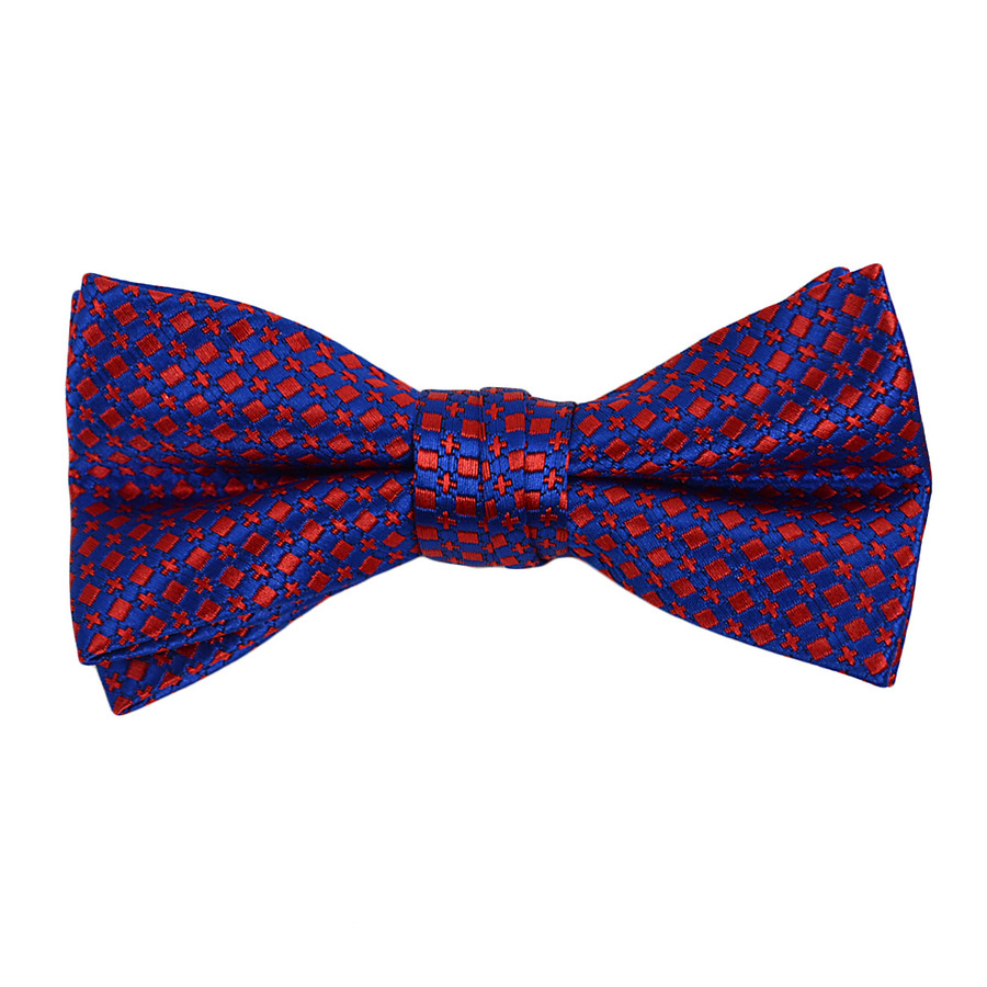 """Boy's 2"""" Blue & Red Dotted Polyester Woven Banded Bow Tie FBB5"""
