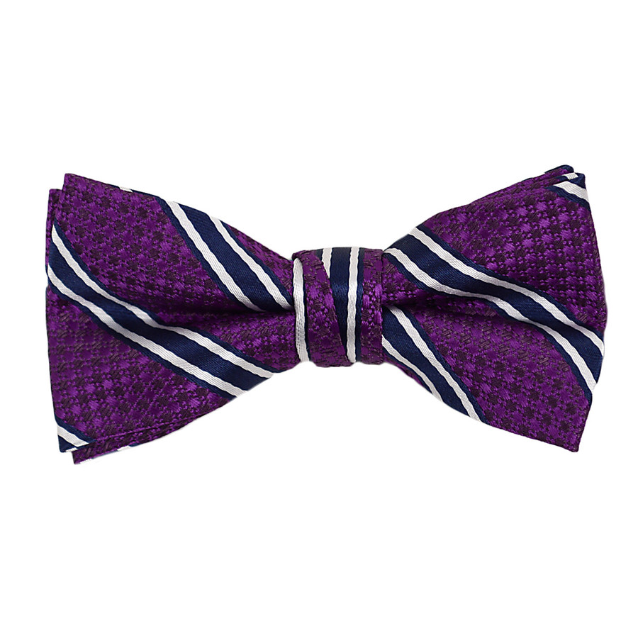 """Boy's 2"""" Purple Striped Polyester Woven Banded Bow Tie FBB7"""