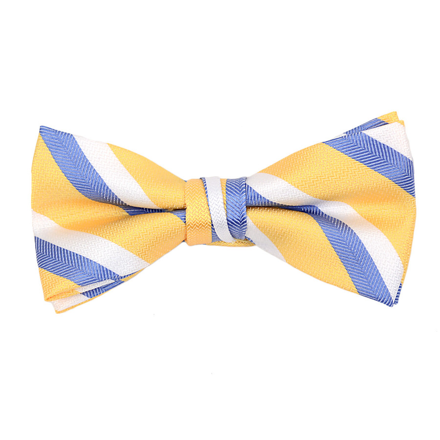 "Boy's 2"" Yellow Striped Polyester Woven Banded Bow Tie - FBB09"