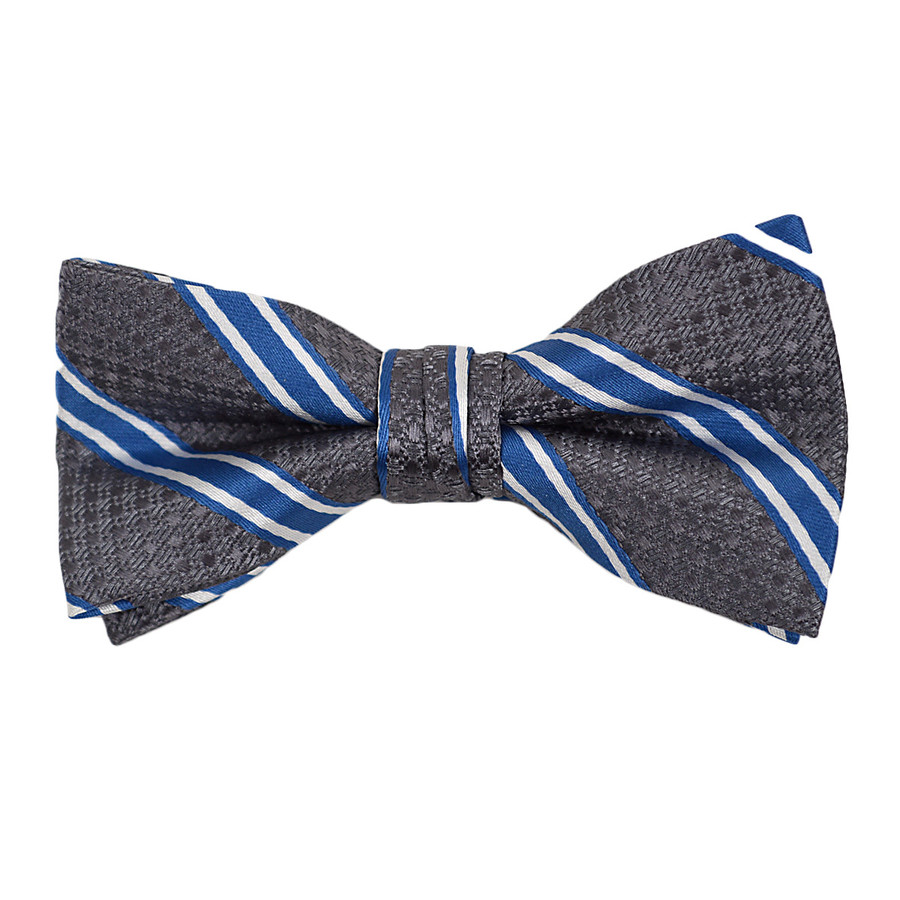 """Boy's 2"""" Gray & Blue Striped Polyester Woven Banded Bow Tie FBB10"""