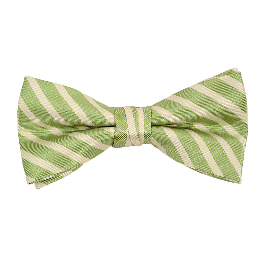 """Boy's 2""""Green Striped Polyester Woven Banded Bow Tie FBB11"""