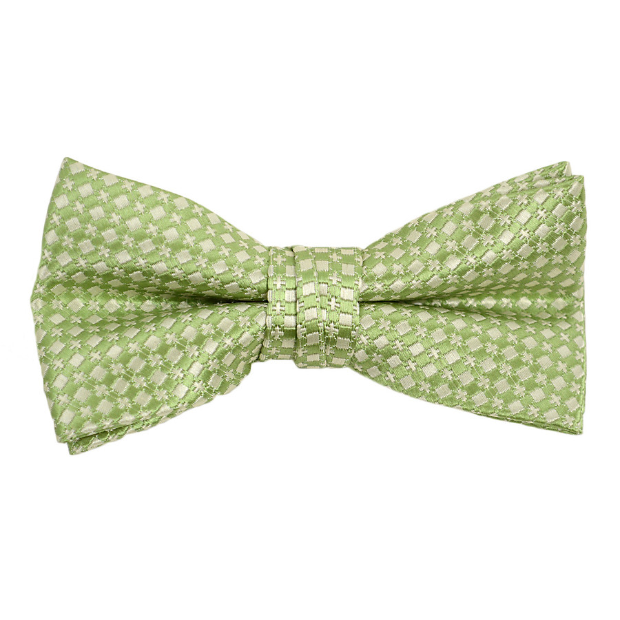 """Boy's 2"""" Green Dotted Polyester Woven Banded Bow Tie FBB12"""
