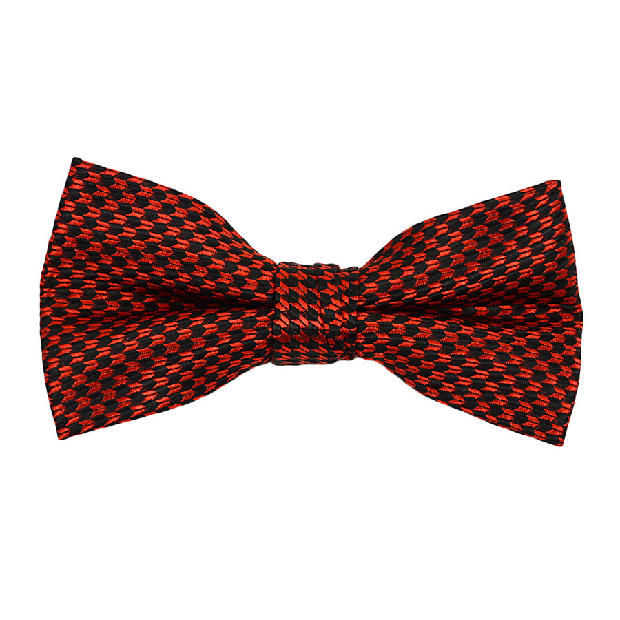 """Boy's 2"""" Red & Black Dotted Polyester Woven Banded Bow Tie FBB13"""