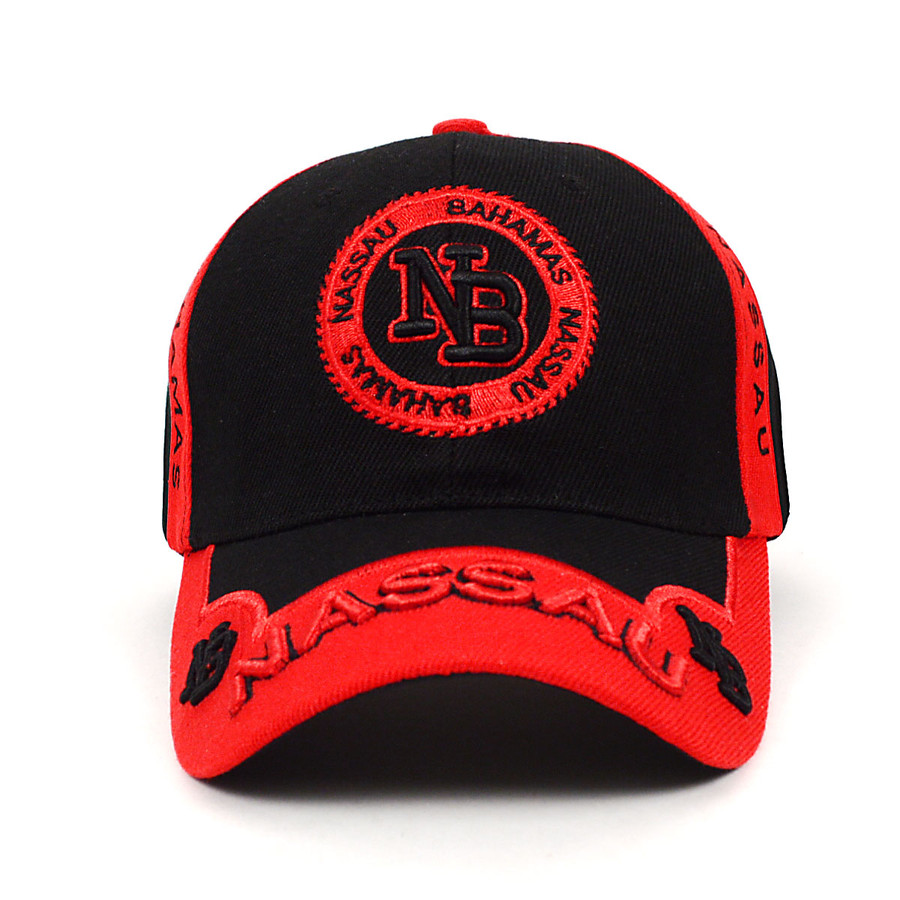 Nassau Bahamas Red & Black 3D Embroidered Baseball Cap, Hat EBC10295