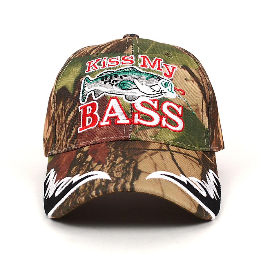 """Kiss My Bass"" Camo 3D Embroidered Baseball Cap, Hat EBC10296"