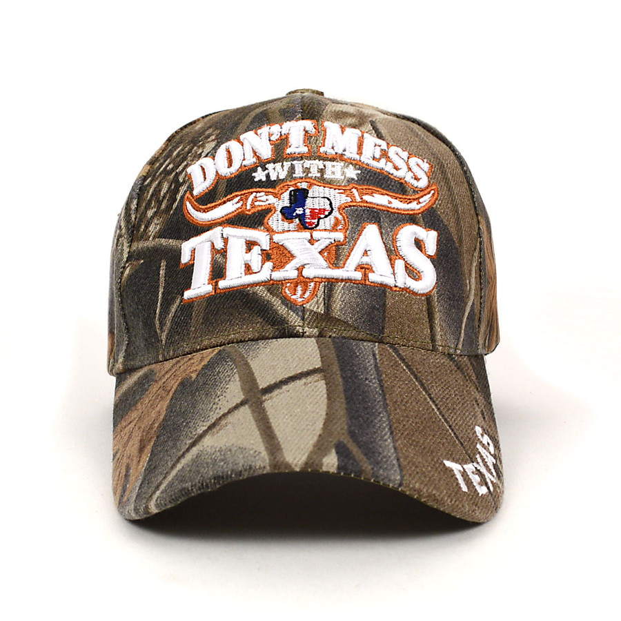 """""""Don't Mess With Texas"""" Camo 3D Embroidered Baseball Cap, Hat EBC10297"""