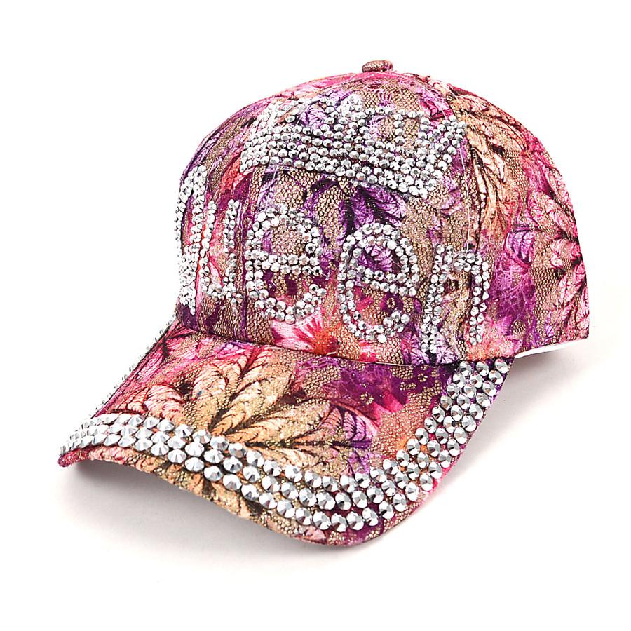 """""""Queen"""" Bling Studs Pink Flower Baseball Cap CFP9581P"""