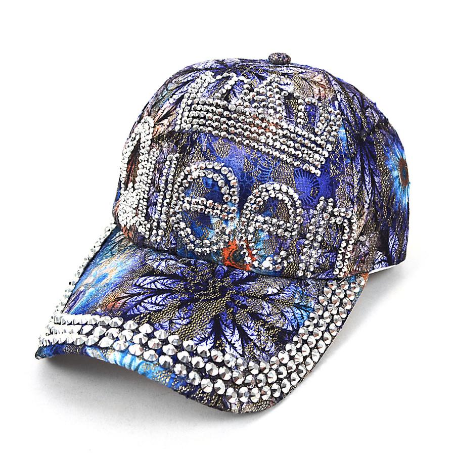 """""""Queen"""" Bling Studs Blue Flower Baseball Cap, Hat CFP9581B"""
