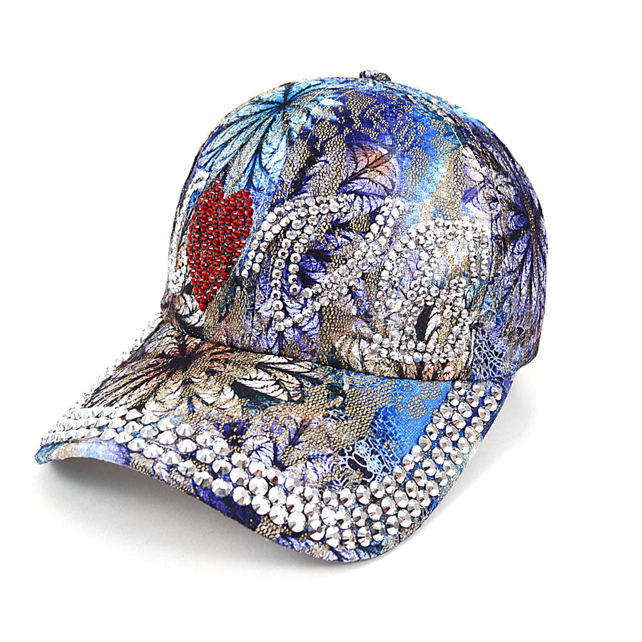 """""""Love"""" Bling Studs Blue Flower Baseball Cap, Hat CFP9584B"""