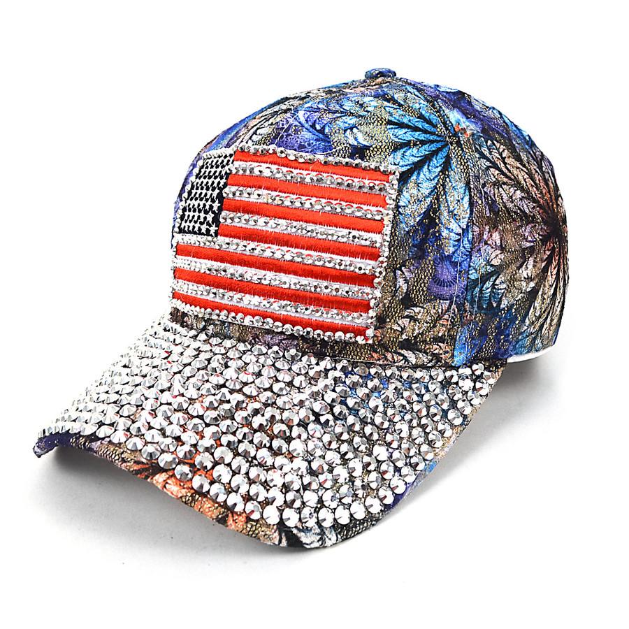 American Flag Bling Studs Blue Flower Baseball Cap, Hat CFP10173B