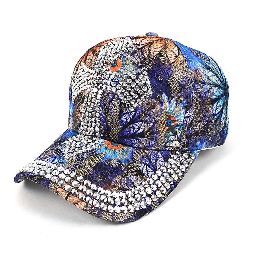 Cross Bling Studs Blue Flower Baseball Cap, Hat CFP10181B