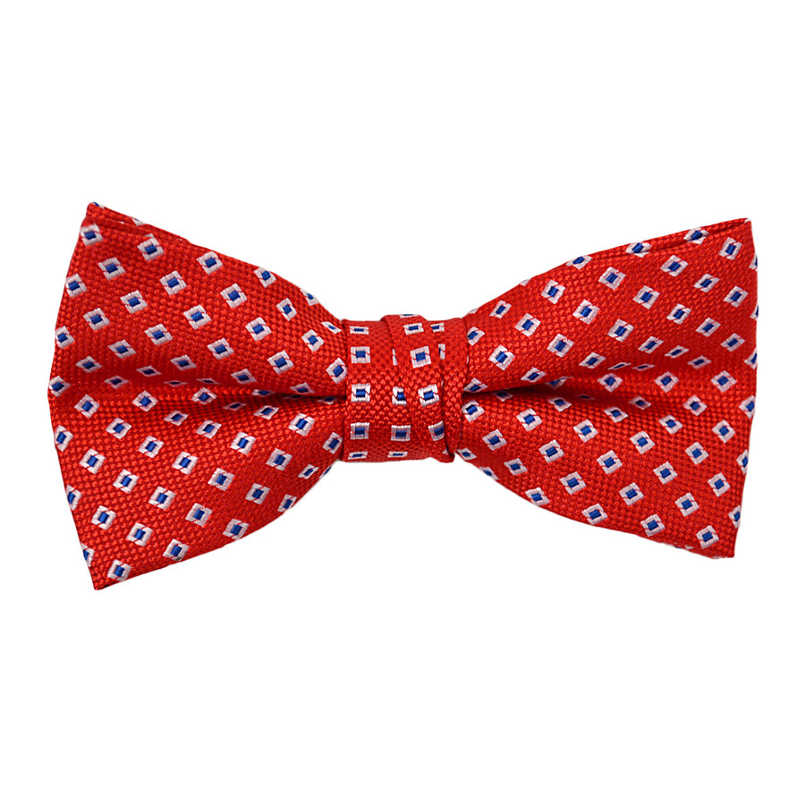 """Boy's 2"""" Red Dotted Polyester Woven Banded Bow Tie FBB14"""