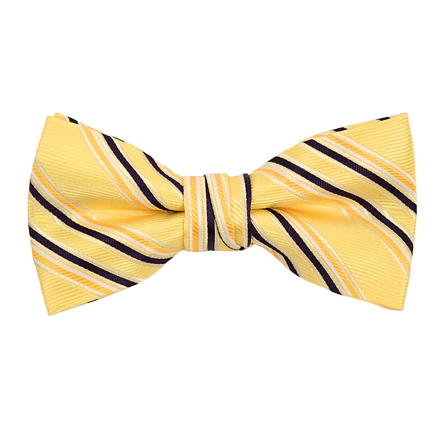 """Boy's 2"""" Yellow Striped Polyester Woven Banded Bow Tie FBB15"""