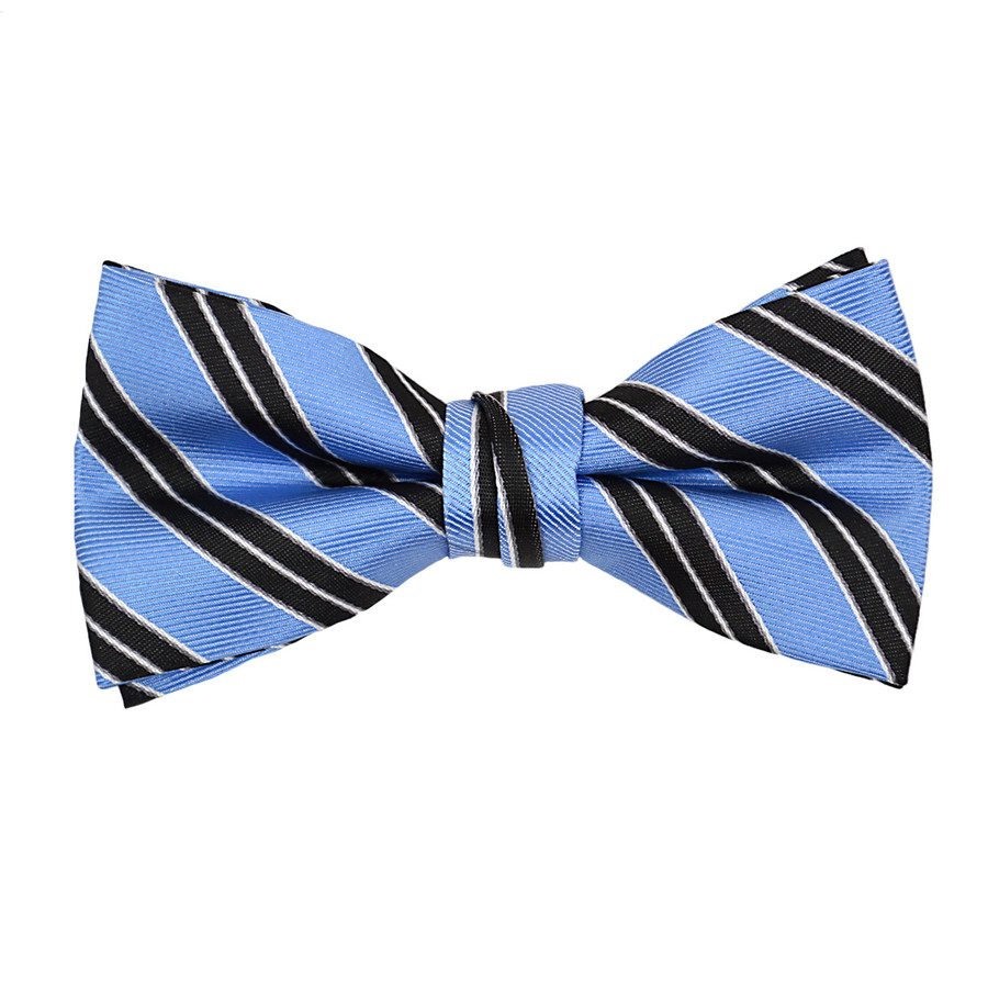 "Boy's 2"" Blue Striped Polyester Woven Banded Bow Tie FBB17"