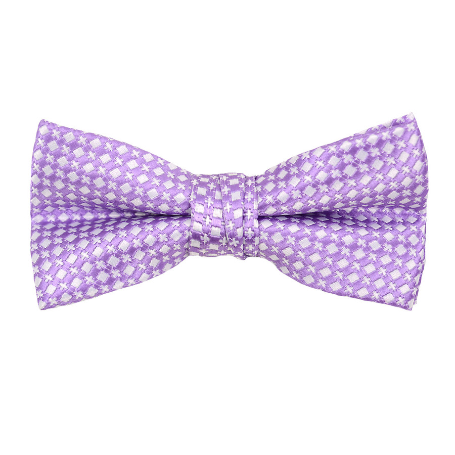 """Boy's 2"""" Lavender Dotted Polyester Woven Banded Bow Tie FBB26"""