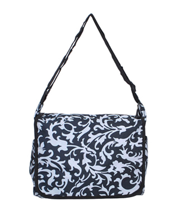 Black and White Floral Design Messenger Bag MB040313BLF