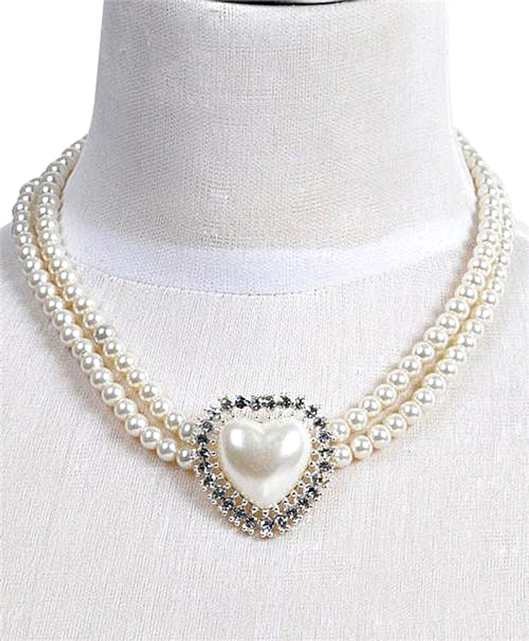 Pendant Necklace and Earrings Set Heart - IMJS0511