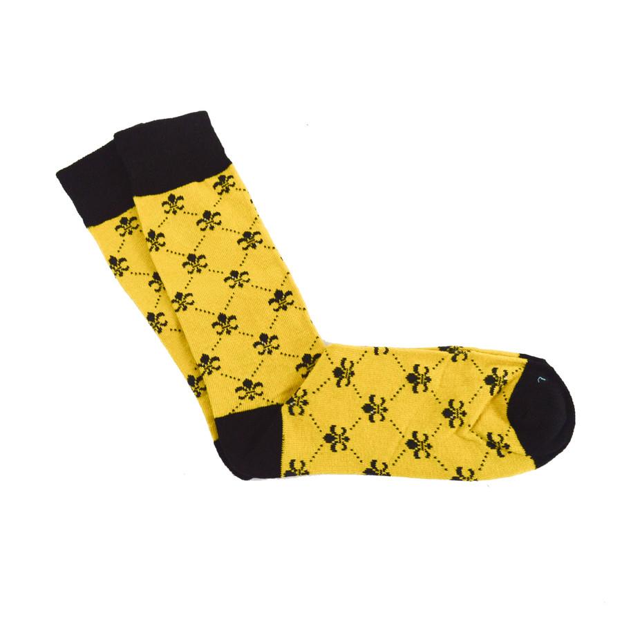 6pc Men's Cotton Gold Fleur-de-lis Socks FLS02GDBK