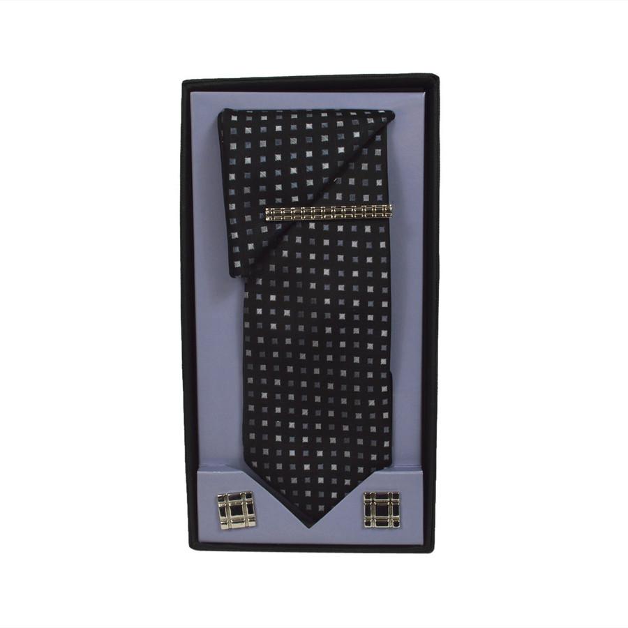 Black Micro Poly Woven Tie, Matching Hanky, Cufflinks & Tie Bar Set PWTHBK5BX