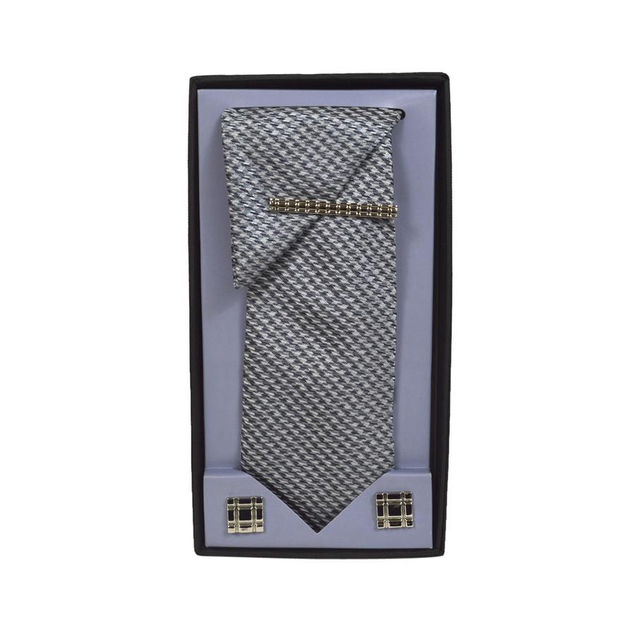 Black Micro Poly Woven Tie, Matching Hanky, Cufflinks & Tie Bar Set PWTHBK7BX