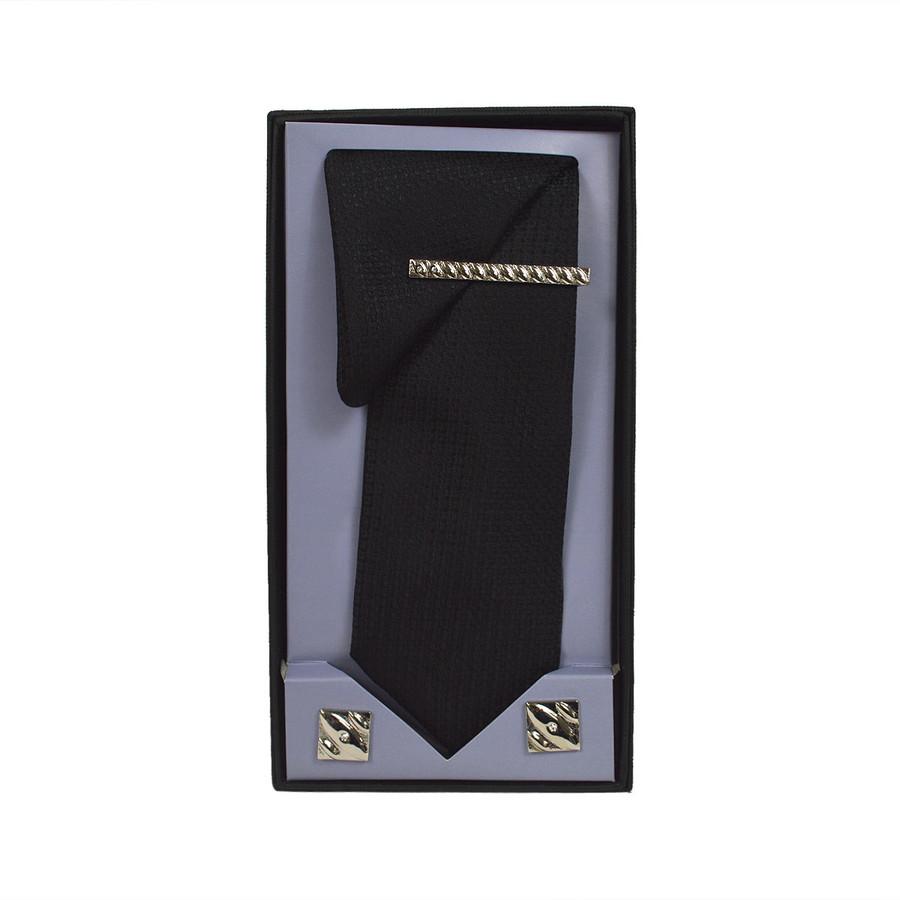 Black Micro Poly Woven Tie, Matching Hanky, Cufflinks & Tie Bar Set PWTHBK11BX
