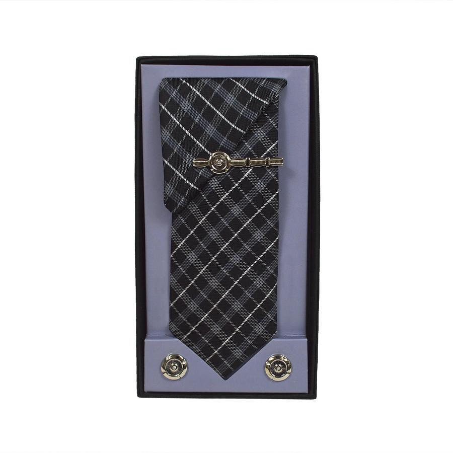 Black Micro Poly Woven Tie, Matching Hanky, Cufflinks & Tie Bar Set PWTHBK17BX