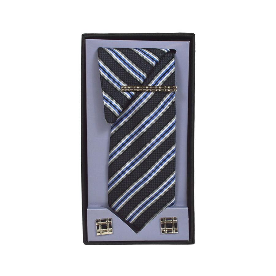 Black Micro Poly Woven Tie, Matching Hanky, Cufflinks & Tie Bar Set PWTHBK18BX