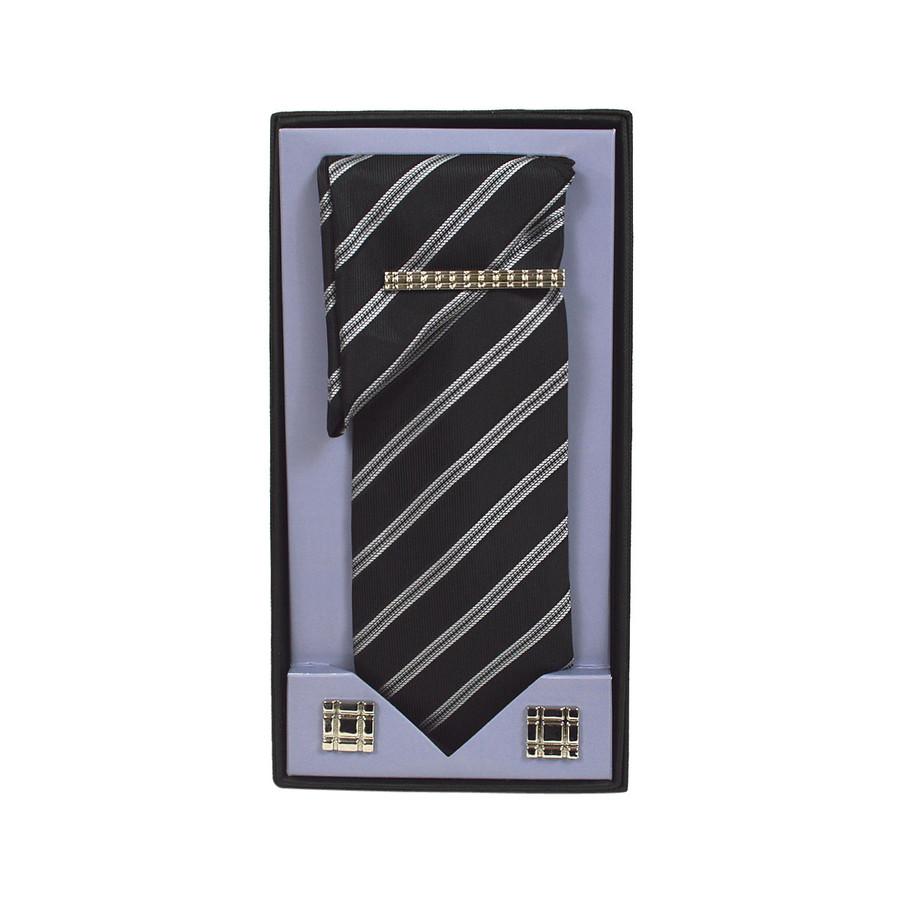 Black Micro Poly Woven Tie, Matching Hanky, Cufflinks & Tie Bar Set PWTHBK19BX