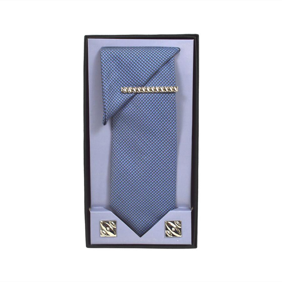 Blue Micro Poly Woven Tie, Matching Hanky, Cufflinks & Tie Bar Set PWTHBL3BX