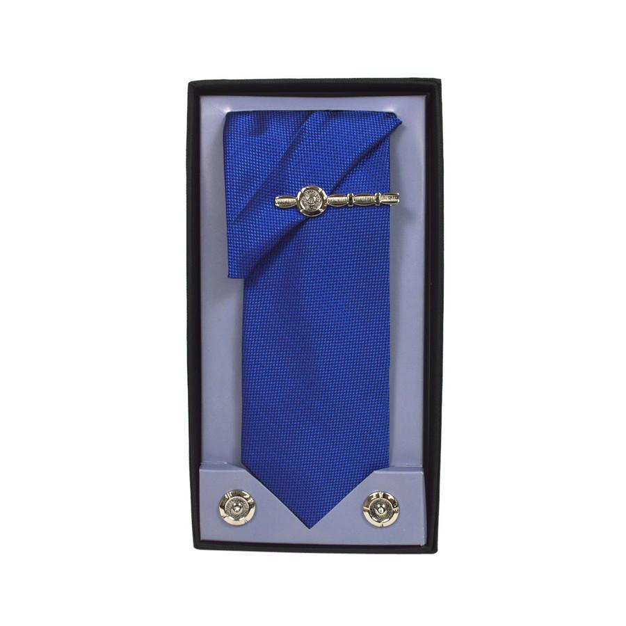 Blue Micro Poly Woven Tie, Matching Hanky, Cufflinks & Tie Bar Set PWTHBL7BX