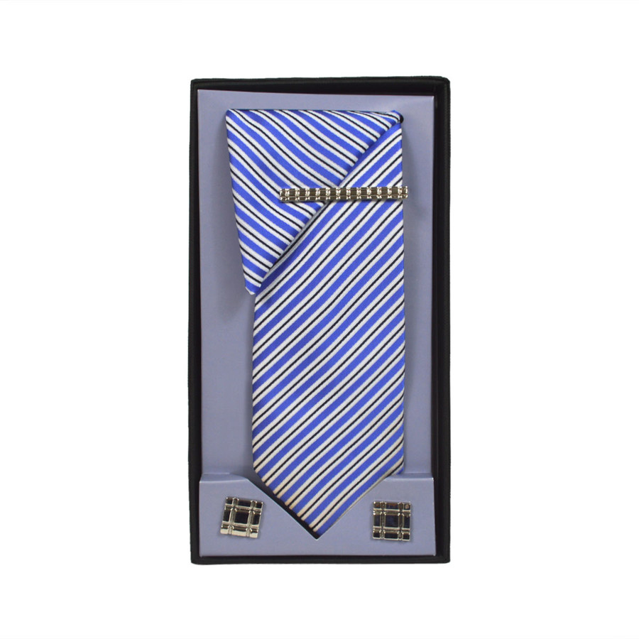 Blue Micro Poly Woven Tie, Matching Hanky, Cufflinks & Tie Bar Set PWTHBL13BX