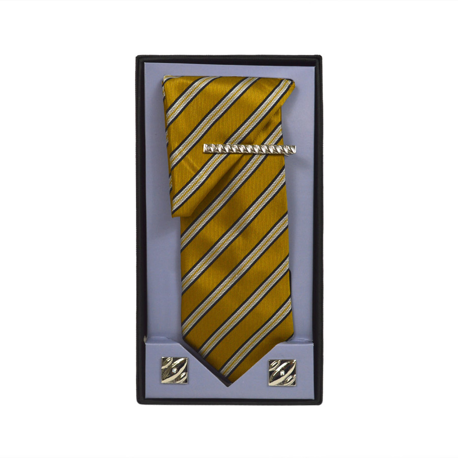 Yellow Micro Poly Woven Tie, Matching Hanky, Cufflinks & Tie Bar Set PWTHYW11BX