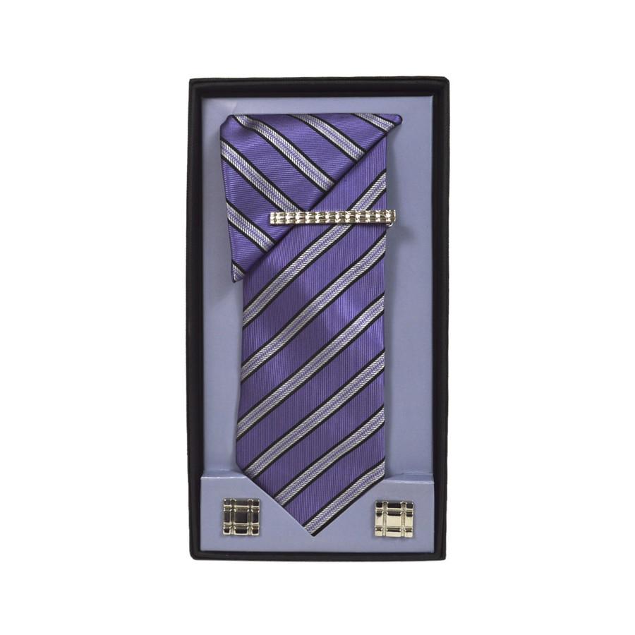 Purple Micro Poly Woven Tie, Matching Hanky, Cufflinks & Tie Bar Set PWTHPU10BX