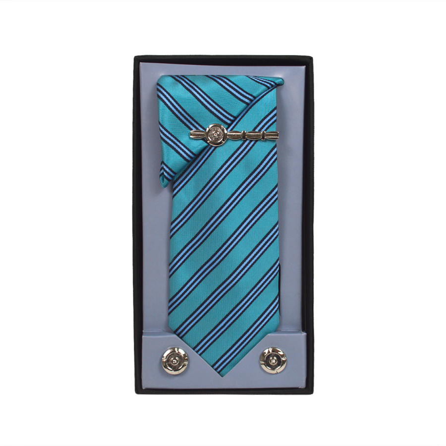 Turquoise Micro Poly Woven Tie, Matching Hanky, Cufflinks & Tie Bar Set PWTHTQ1BX