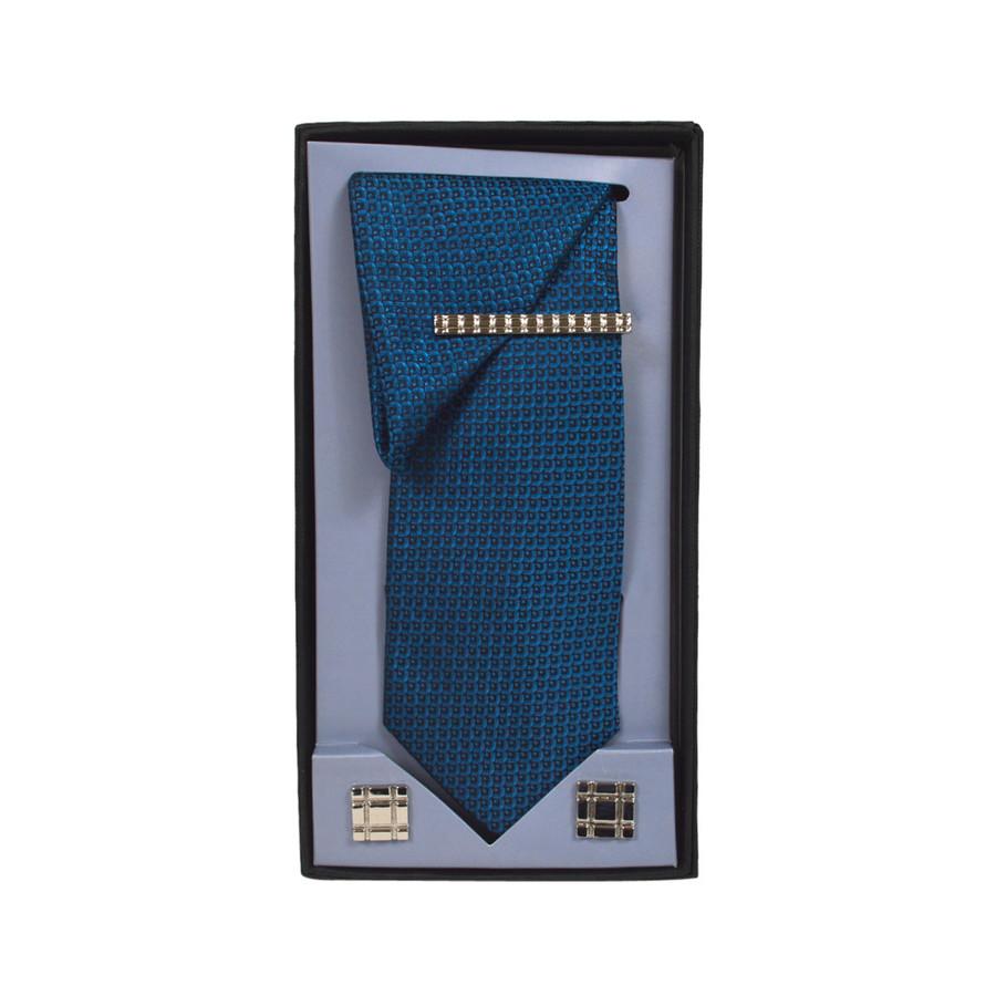Turquoise Micro Poly Woven Tie, Matching Hanky, Cufflinks & Tie Bar Set PWTHTQ4BX
