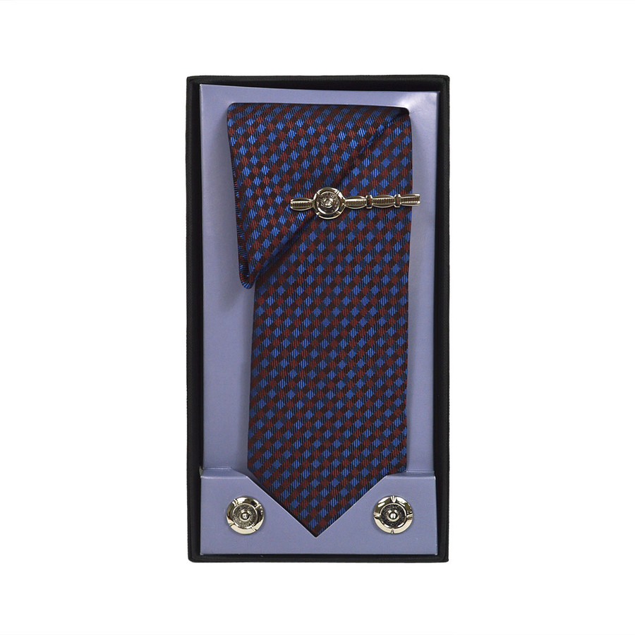 Brown Micro Poly Woven Tie, Matching Hanky, Cufflinks & Tie Bar Set PWTHBR3BX