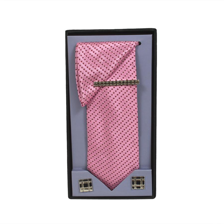 Pink Micro Poly Woven Tie, Matching Hanky, Cufflinks & Tie Bar Set PWTHPK4BX