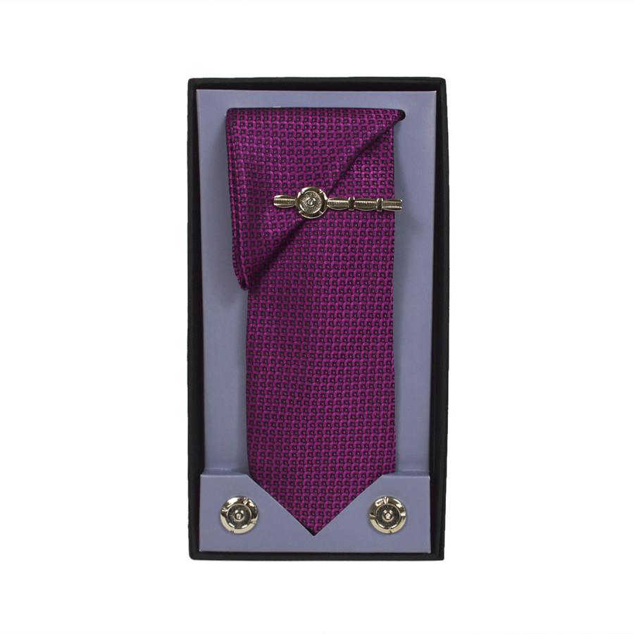 Pink Micro Poly Woven Tie, Matching Hanky, Cufflinks & Tie Bar Set PWTHPK5BX