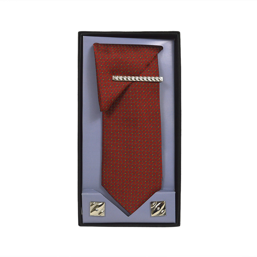 Orange Micro Poly Woven Tie, Matching Hanky, Cufflinks & Tie Bar Set PWTHOR2BX