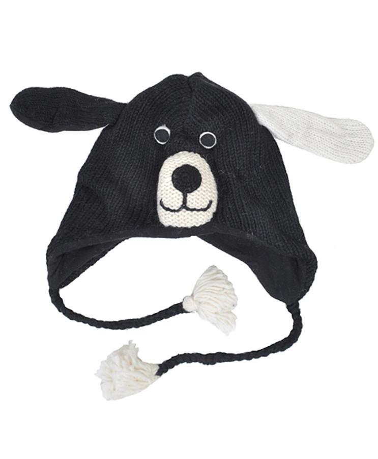 Wool Animal Hats Black Doggy - AHW100
