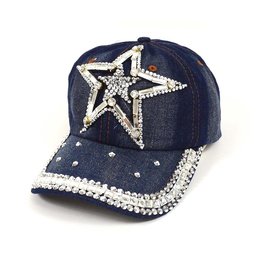 """Bling Studs """"Star"""" Denim Cap"""