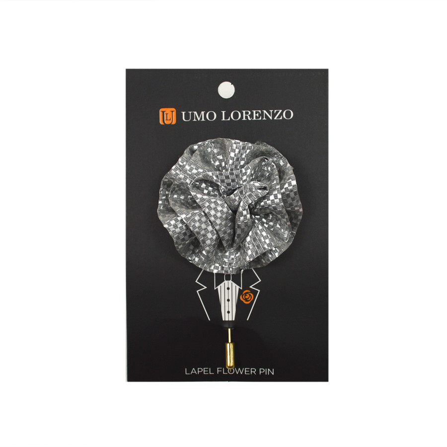 Silver Poly Lapel Flower Pin F9473-SI