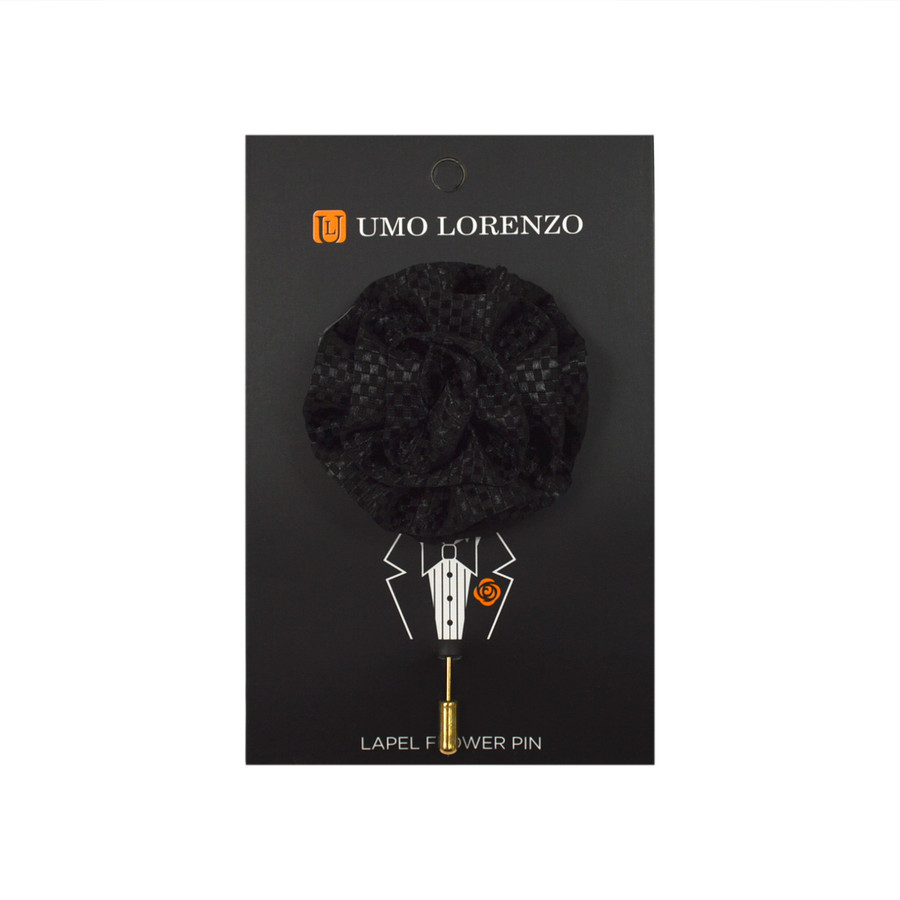 Black Poly Lapel Flower Pin F9473-BK